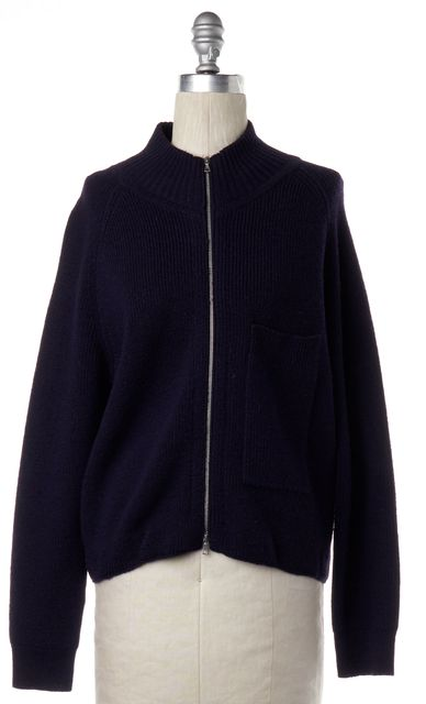 DRIES VAN NOTEN Navy Blue Wool Front Zip Cardigan Sweater