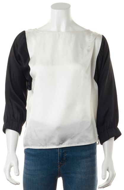 DRIES VAN NOTEN Black White Color-block Silk Relaxed Fit Blouse Top