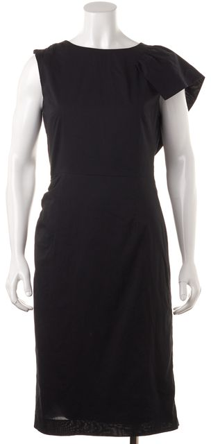 DRIES VAN NOTEN Black Cotton One Ruffle Sleeve Sheath Dress