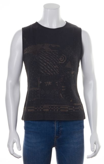 DRIES VAN NOTEN Gray Brown Geometric Knit Sleeveless Blouse Top
