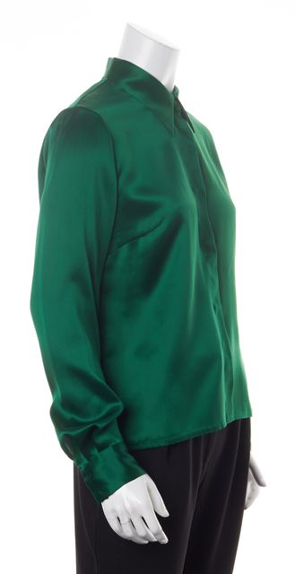 DRIES VAN NOTEN Green Silk Satin Printed Sleeve Button Down Blouse
