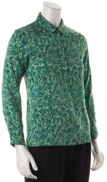 DRIES VAN NOTEN Green Abstract Silk Button Down Shirt Blouse