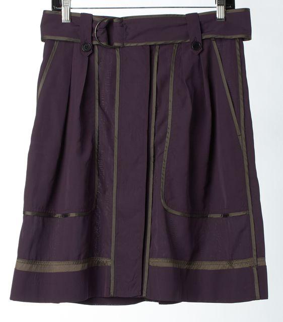 DRIES VAN NOTEN Purple Gray Silk Belted A-Line Skirt