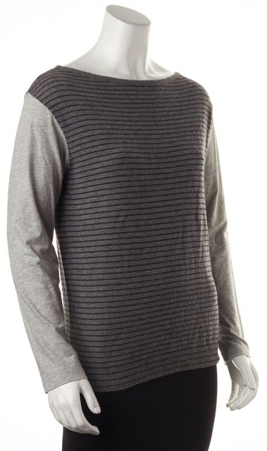DRIES VAN NOTEN Gray Striped Merino Wool Cotton Jersey Sleeves Knit Top