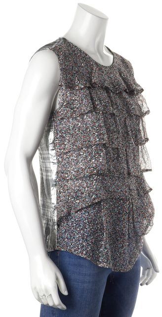 DRIES VAN NOTEN Multi-Color Silver Metallic Sleeveless Silk Blouse