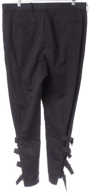 DRIES VAN NOTEN Black Cotton Buckled Ankle Casual Pants