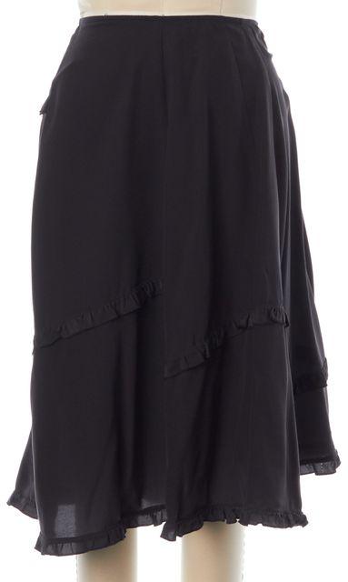 DRIES VAN NOTEN Black Silk Ruffle Trim A-Line Skirt