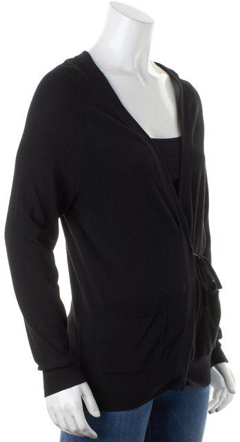 DRIES VAN NOTEN Black Buttoned Long Sleeve Tied Cardigan Sweater