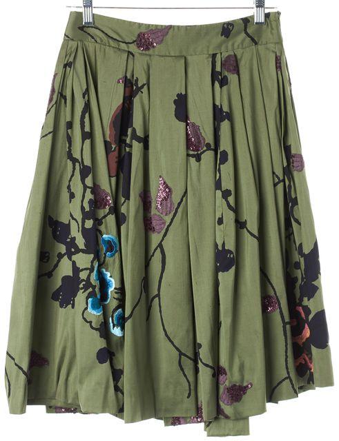 DRIES VAN NOTEN Green Floral Embroidered Silk Full Skirt