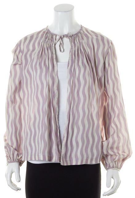 DRIES VAN NOTEN Purple White Striped Pleated Open Blouse