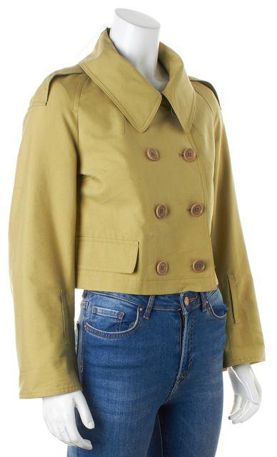 DRIES VAN NOTEN Apple Green Silk Double Breasted Cropped Jacket