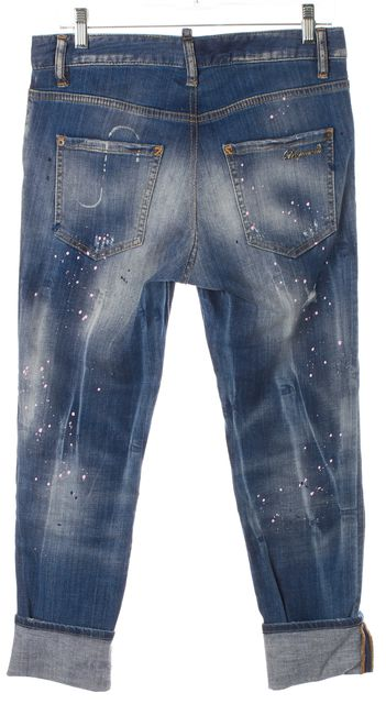 DSQUARED2 Blue Distressed Splatter Cool Girl Cuffed Cropped Jeans