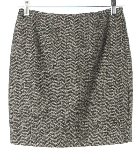 DSQUARED2 Gray Chevron Wool Blend Above Knee Straight Skirt