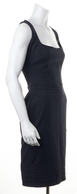 DSQUARED2 Black Cotton Canvas Square Neck Sleeveless Sheath Dress