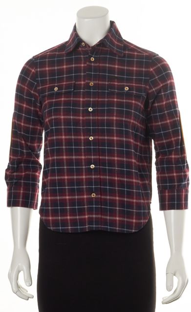 DSQUARED2 Red Blue White Plaid Woven Patch Sleeve Button Down Shirt Top
