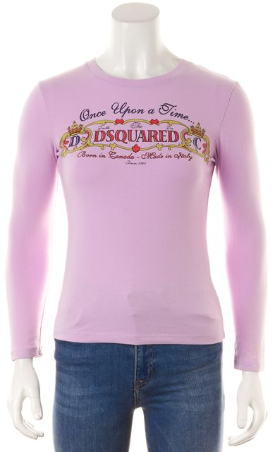 DSQUARED2 Pastel Purple Once Upon A Time Graphic Long Sleeve T-Shirt