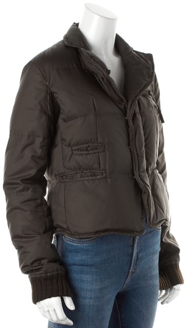 DSQUARED2 Brown Quilted Nylon Wool Trim Basic Puffer Jacket