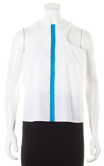 DSQUARED2 White Blue Ruffle Striped Sleeveless Blouse