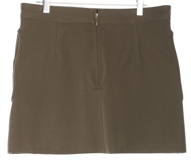 DSQUARED2 Olive Green Zipper Pockets Wool Mini Skirt