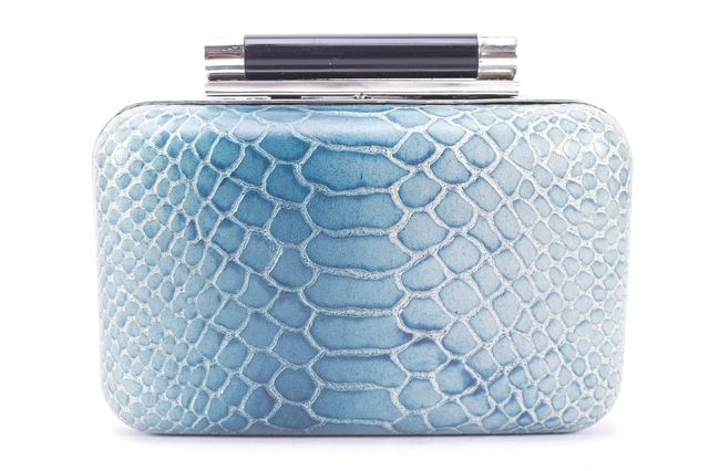 DIANE VON FURSTENBERG Blue Multi Abstract Snake Embossed Leather Box Clutch