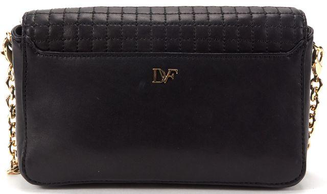 DIANE VON FURSTENBERG Auth Black Leather Quilted Gold Hardware Crossbody Bag