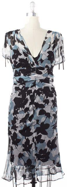 DIANE VON FURSTENBERG Blue Black Print Silk Breas Sheath Dress