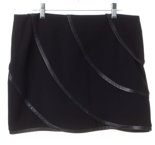 DIANE VON FURSTENBERG Black Leather Trim Karina Mini Skirt