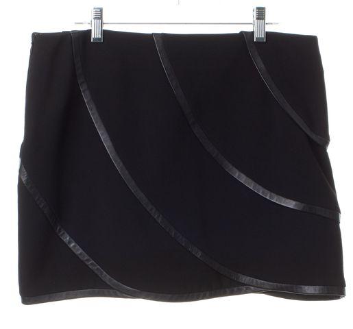 DIANE VON FURSTENBERG Black Leather Trim Karina Mini Skirt Size 10
