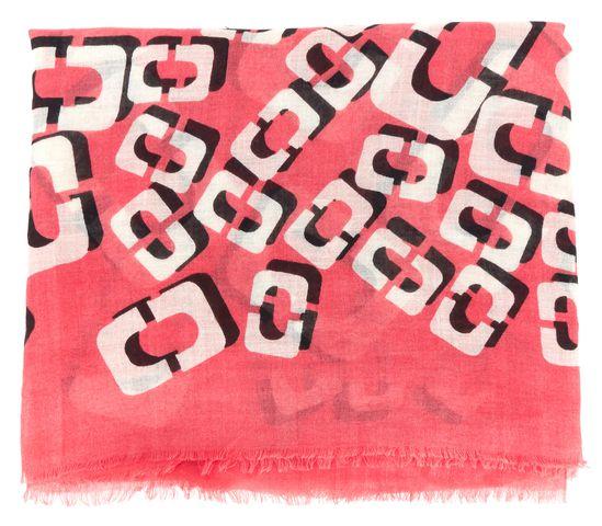 DIANE VON FURSTENBERG Pink White Wool Silk Knit Hanovar Frayed Scarf
