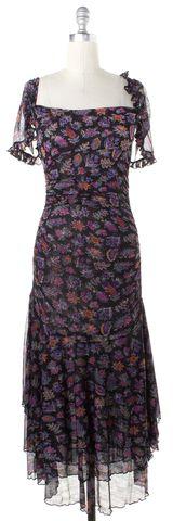 DIANE VON FURSTENBERG Purple Black Multi Floral Silk Queenie Sheath Dress