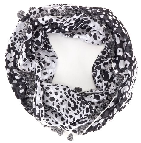 DIANE VON FURSTENBERG Black White Abstract Print Pom Pom Trim Infinity Scarf