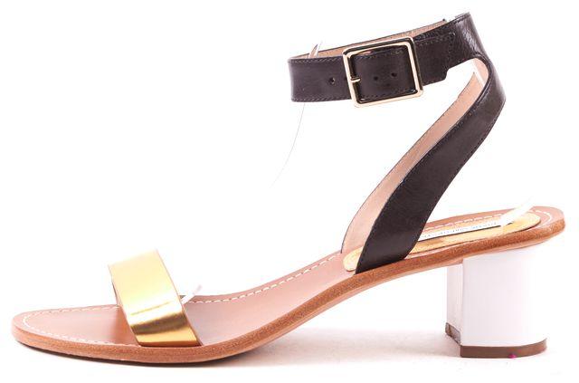 DIANE VON FURSTENBERG Gold Black Ankle Strap Sandal