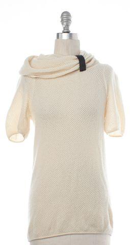 DIANE VON FURSTENBERG Ivory Wool Long Sleeve Cowl Neck Sweater