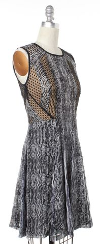 DIANE VON FURSTENBERG Black White Silk Ida Textured Stripe Dress