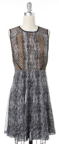 DIANE VON FURSTENBERG Black White Silk Ida Textured Stripe Dress Size 0