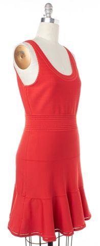 DIANE VON FURSTENBERG Red Stretch Knit Perry Fit Flare Dress Size L