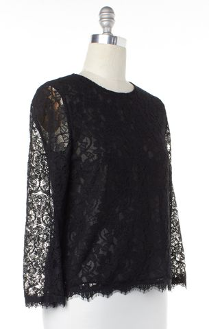 DIANE VON FURSTENBERG Black Lace DVF Brielle Top