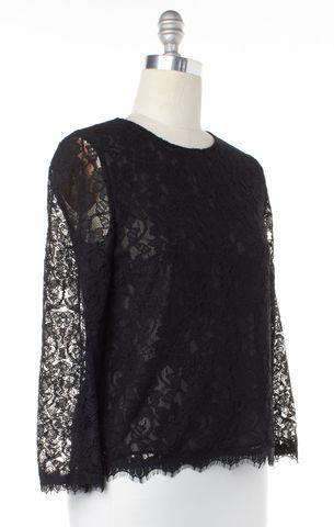 DIANE VON FURSTENBERG Black Lace DVF Brielle Top Size 6