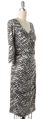 DIANE VON FURSTENBERG Black White Silk Bentley SJ Sheath Dress
