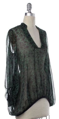 DIANE VON FURSTENBERG Black Green Silk Kipling Sheer Top