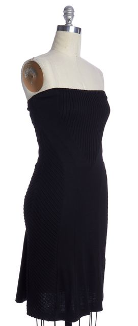 DIANE VON FURSTENBERG Black Wool Textured Strapless Bodycon Dress