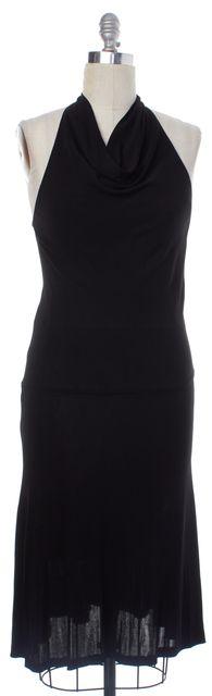 DIANE VON FURSTENBERG Black Jersey Halter Cowl Neck Open Back Blouson Dress
