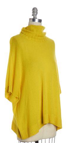 DIANE VON FURSTENBERG Yellow Cashmere Knit Jasswinder Turtleneck Sweater Size M