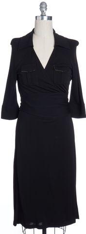 DIANE VON FURSTENBERG Black and Brown Lined Silk Wrap Dress Size 12