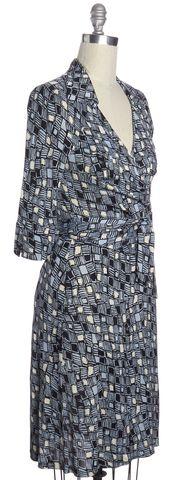 DIANE VON FURSTENBERG NEW NWT Blue Abstract Print Silk Denise Wrap Dress Size 12