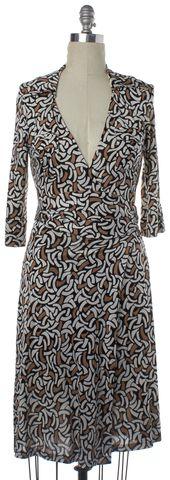 DIANE VON FURSTENBERG NEW Black Brown White Print Silk Wrap Dress Size 2
