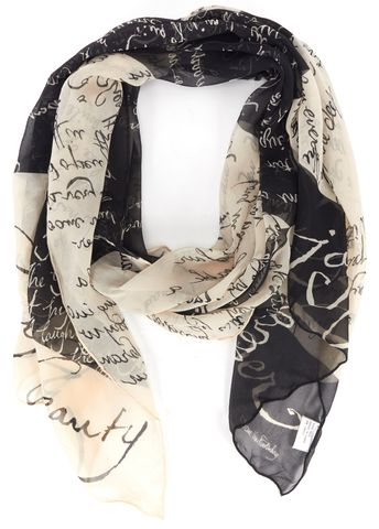 DIANE VON FURSTENBERG Black Ivory Graphic Text Silk Scarf