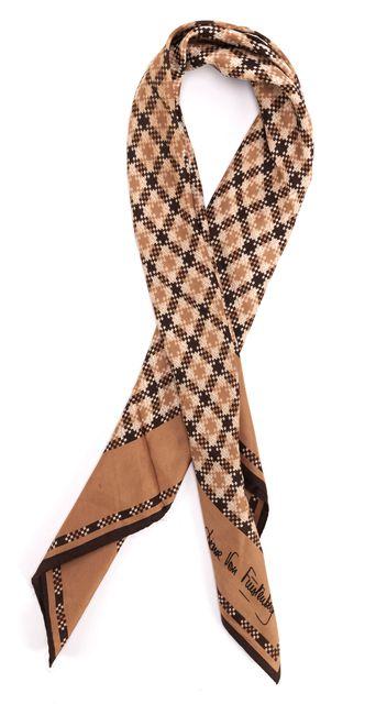 DIANE VON FURSTENBERG Brown Geometric Silk Square Scarf