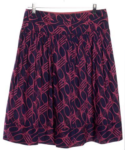 DIANE VON FURSTENBERG Blue Pink Abstract Print Nala Pleated Skirt Size 8