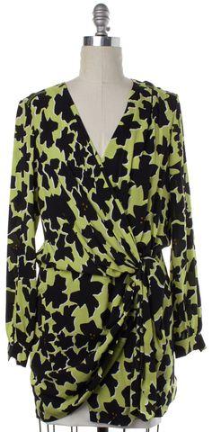 DIANE VON FURSTENBERG Yellow Black Silk Dora Lily Wrap Effect Dress Size 6